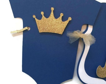 Prince Baby Shower Banner on Royal Blue and Gold, Royal Prince Baby Banner