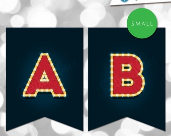 small red navy movie marquee themed banner printable banner all letters 0 9 numbers