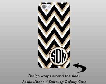 Black Gold Chevron Monogram iPhone 6 Case, iPhone 6 Plus Case, iPhone Case, iPhone 7 Case iPhone 7 Plus Case, iPhone 6S Case