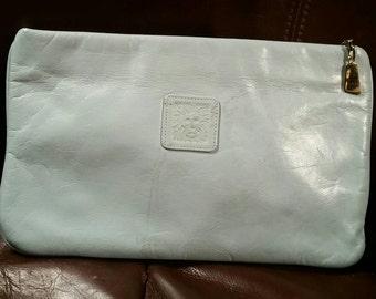 Vintage Anne Klein for Calderon Leather Clutch, Handbag, Baby Blue Leather Purse, 80s fashion, Lion Logo