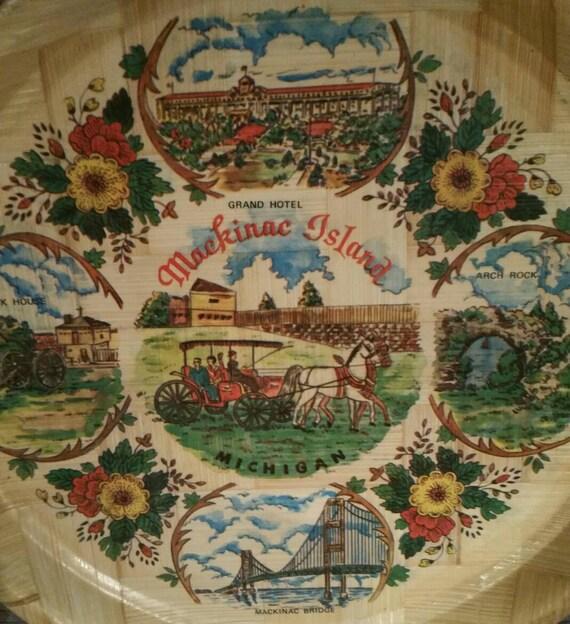 Mackinac Island Michigan Tray Souvenir Tray Pressed Wood