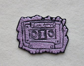 """Love Songs, Radio, Iron On Patch, 3 1/2"""" X 2 3/4"""", PINK, Embroidered Patch, Love, Songs, Boombox"""