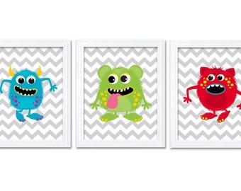 Monster Nursery Art Set of 3 Prints Blue Green Red Grey Chevron Child Art Kids Room Wall Art Baby Boy Decor Baby