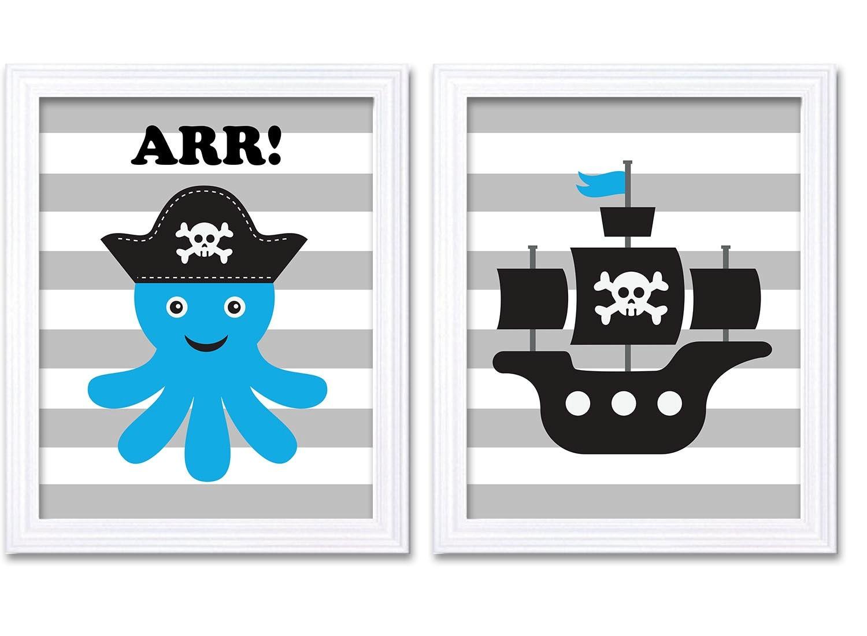 Pirate Nursery Art Set of 2 Prints Nautical Nursery Octopus Ship Turquoise Blue Black White Grey Boy