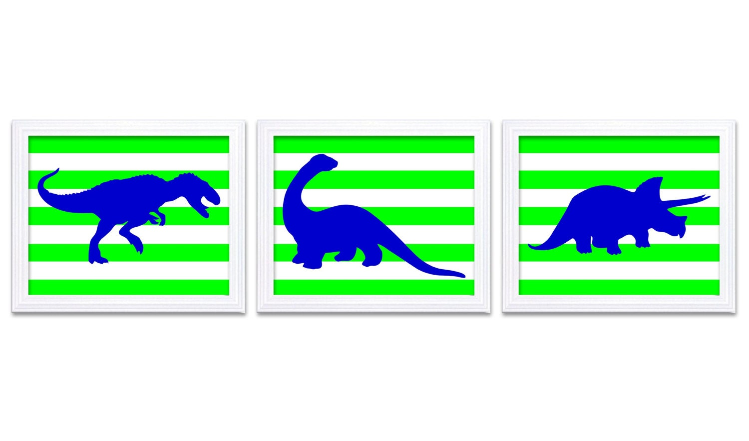 Dinosaur Nursery Art Dinosaurs Set of 3 Prints Navy Blue Lime Green Stripes Tyrannosaurus Rex Tricer