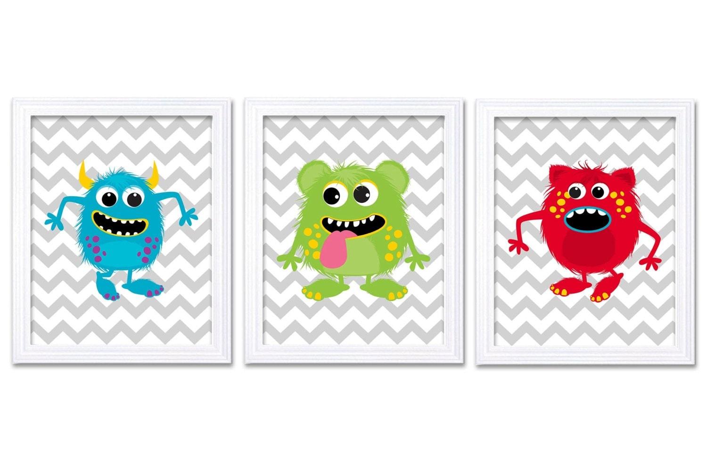 Monster Nursery Art Set of 3 Prints Blue Green Red Grey Chevron Child Art Kids Room Wall Art Baby Bo