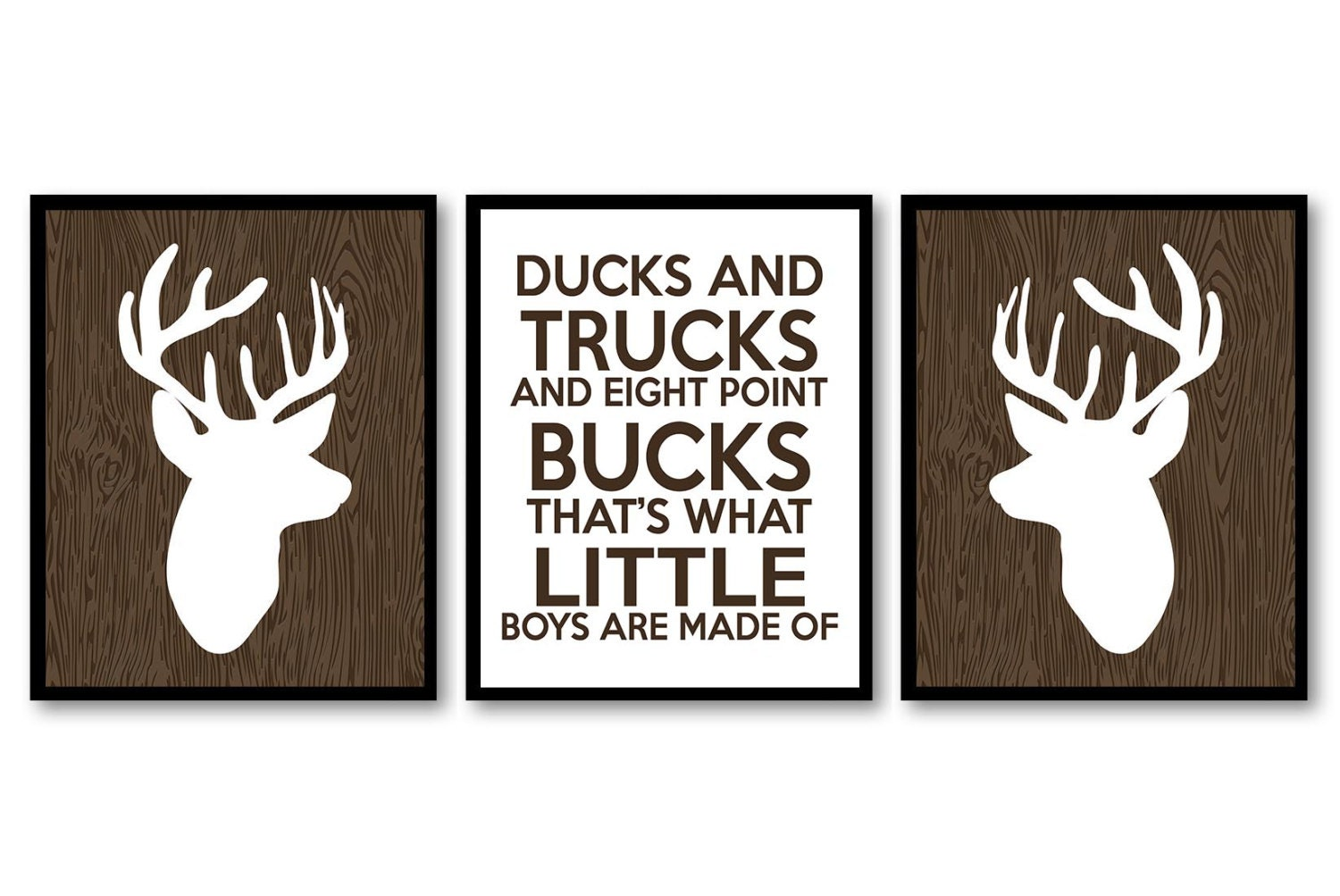 Deer Nursery Art Ducks Trucks and Bucks Prints Set of 3 Wood White Brown Baby Wall Decor Forest Wood