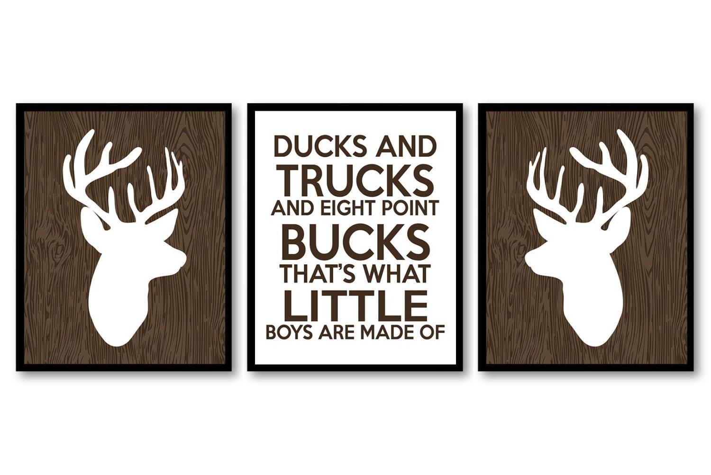 Deer Nursery Art Ducks Trucks and Bucks Prints Set of 3 Wood White Brown Baby Wall Decor Forest Wood