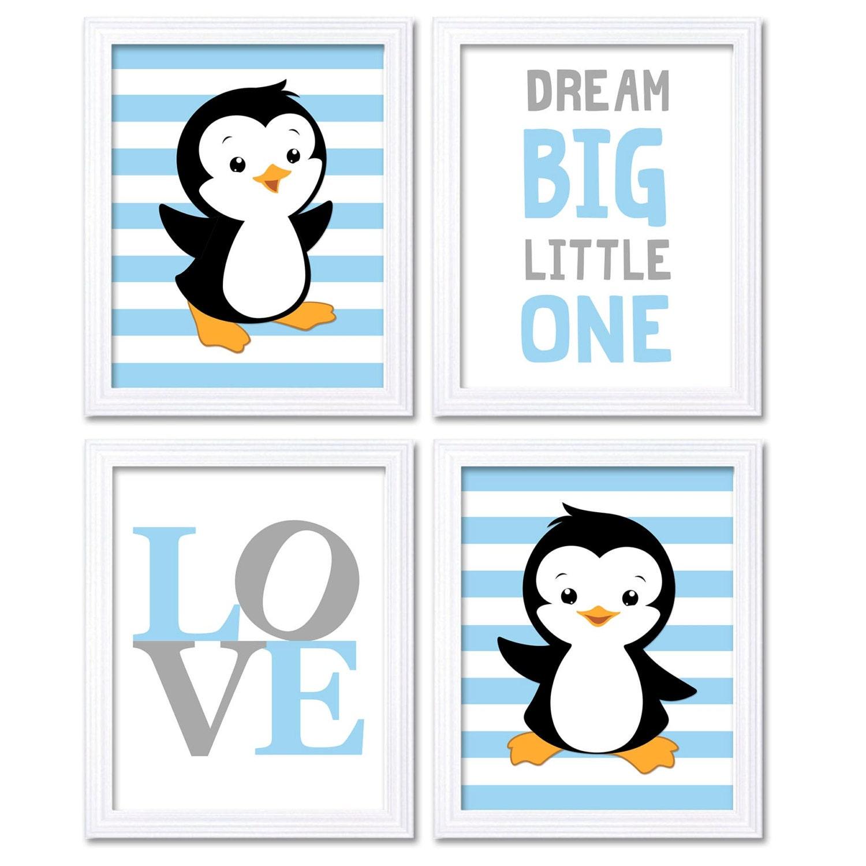 Penguin Nursery Art Baby Blue Grey Dream Big Little One LOVE Set of 4 Prints Penguin Wall Art Home D