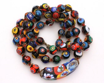 Vintage Venetian Millefiori Glass Beads, Italian Glass Bead Necklace, Millefiori Italy, Venetian Glass, Italian Jewelry, Italy Necklace