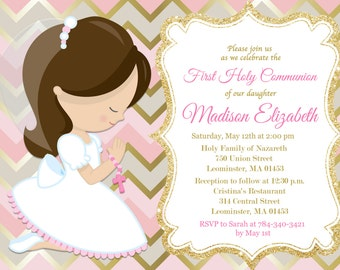 First Communion Invitation, Girl, Pink, Gold, Any Hair Color - Printable or Printed