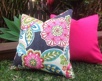 Outdoor Cushions, Outdoor Pillows, Cover Only. Floral Fiesta Retro Outdoor Pillow Cover, Pink Cushions Tropical Pillows