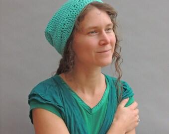 Hat slouchy beret beanie bohemian gypsy cotton crochet handknitted woman winter dreadlocks green mint