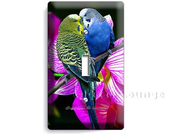 colorful parakeet parrots love birds orchid flowers single light switch wall plate cover living room kitchen bedroom decoration home decor