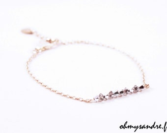 Bracelet chain and Swarovski beads sterling silver, gold filled and rose gold filled