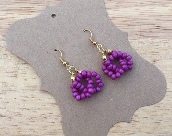 Purple Earrings, Purple Beaded Earrings, Purple Knot Earrings, Small Purple Earrings, Purple Jewelry, Violet Earrings, Plum Purple Earrings