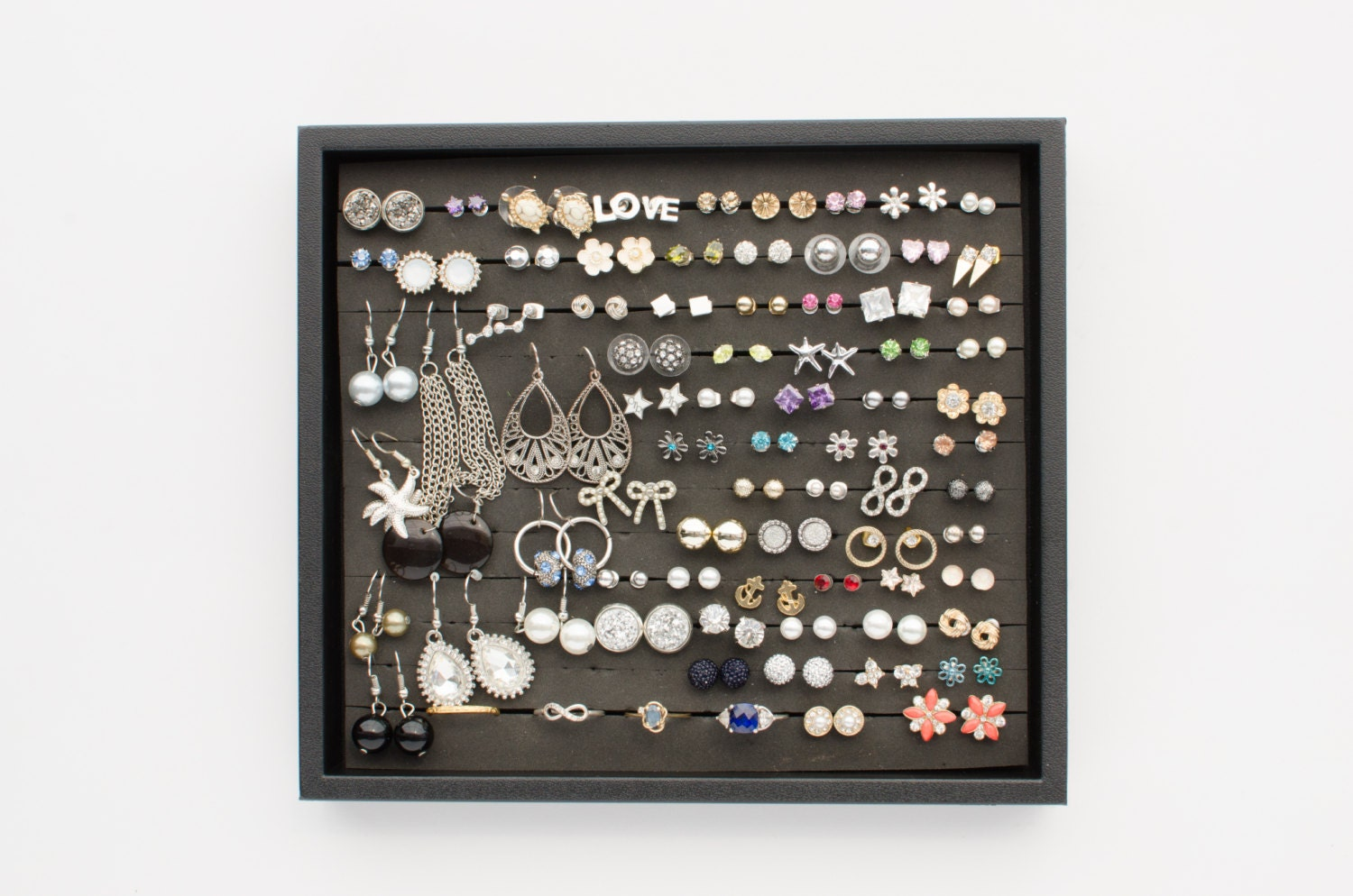Earring Display Tray Black Plastic Frame Earring