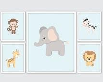 Jungle Nursery Art, Jungle Room Decor, Safari Nursery Wall Art Prints, Monkey, Giraffe, Elephant, Zebra, Lion Nursery Wall Art Prints