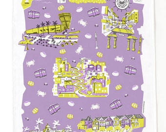 San Francisco Tea Towel-Home Goods-Kitchen-Lavender-Grey-Yellow-17 x 28
