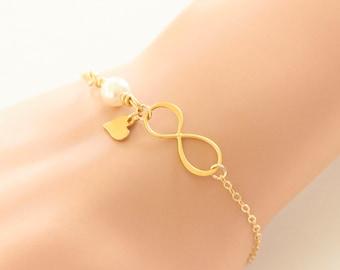 Infinity Heart Bracelet, Gold, Bronze, Bridesmaid Bracelet, Mother, Daughter, Wedding Forever Bracelet