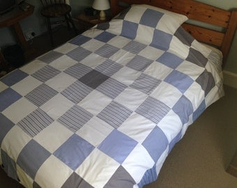 Patchwork King Size Duvet Cover made out of Quality Cotton Shirts