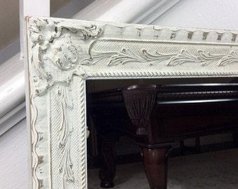 Decorative Mirror, White Mirror, Vintage Mirror, Bathroom Mirror, Vanity Mirror, Nursery Decor, Cottage Chic Decor, Home And Living, Shabby