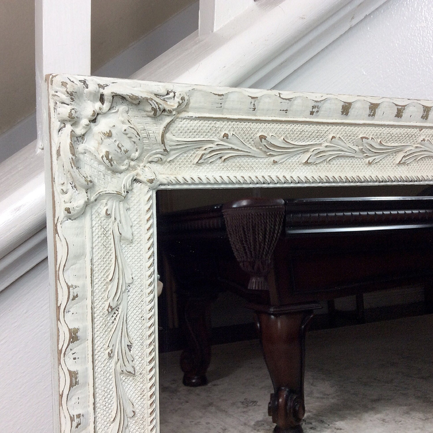 Decorative mirror white mirror vintage mirror bathroom for Fancy white mirror