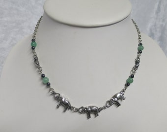 New Jade and Hematite Elephant Necklace