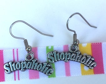 Shopaholic Earrings / Shopping Lover Earrings/ Shopaholic Charm/ Shop til  You Drop/ Shopaholic Dangles