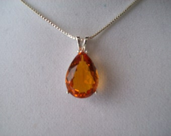Created Golden Tourmaline Pear Pendant in Sterling Silver