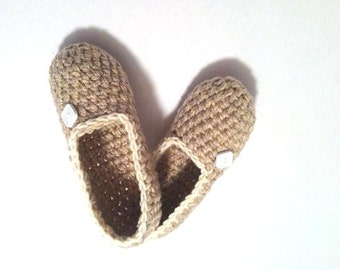 Extra Thick Crochet Slippers, Cozy Women's House Shoes, Natural Beige Slippers by Vikni Designs