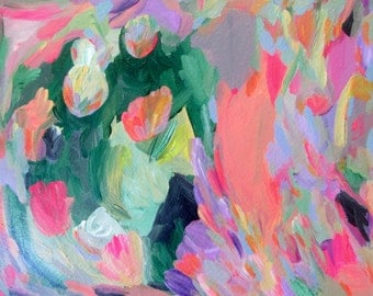 Abstract Floral Painting Original Acrylic Modern Art on Paper Green, Peach, Purple Contemporary Wall Art