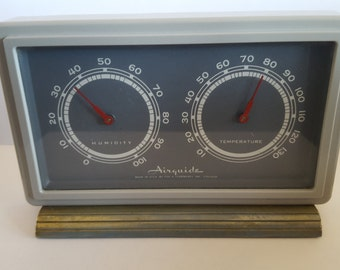 Vintage industrial look home weather station Fee & Stemwedel Inc, Chicago AirGuide,  thermometer,  barometer