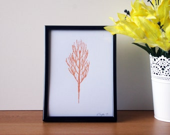 Tree Hand Pulled Screen Print - A5 - 210x148MM - Copper and Gold Mix - Print Only