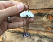 Prince Purple rain earrings, tribute to prince raining cloud earrings, made from shell cloud and  glass drop beads