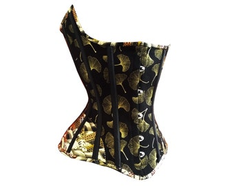 Bespoke Corset Gingko Leaf Steelboned Corset Gorgeous Japanese print with gold, red and black details. Ideal for tightlacing.