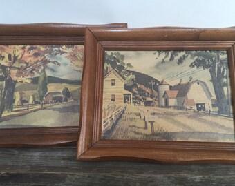 Farm Barn Art Prints, Framed Set of 2, Vintage