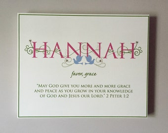 Flash Sale*- HANNAH Name Art Canvas with Name Meaning and Scripture Verse, 16x20 - wall art baby name meaning