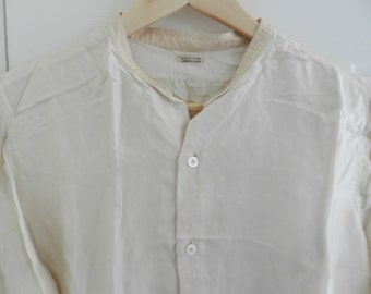 BARGAIN SALE-French and English Vintage-Men's Fashion-Vintage Shirt-Hilditch&Key-ModeParisienne-ModeLondonienne -Cream-Original Buttons-Silk