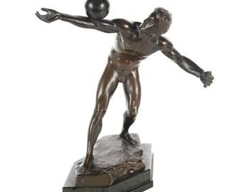 Olympian Athlete balancing a Ball-Antique Bronze Sculpture by E. Hamburger