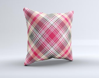 The Pink & Tan Plaid Layered Pattern V5 ink-Fuzed Decorative Throw Pillow