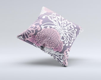 The Pink and White Solid Flowers ink-Fuzed Decorative Throw Pillow