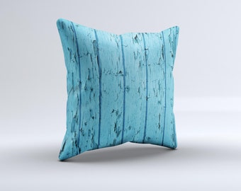 The Blue Aged Wood Panel ink-Fuzed Decorative Throw Pillow