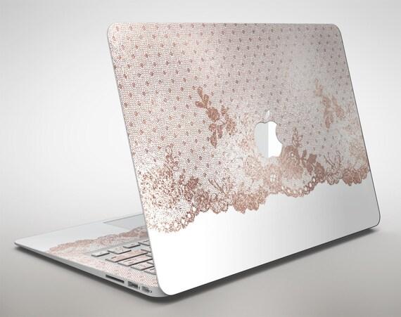 rose gold lace pattern 6 apple macbook air or pro skin decal. Black Bedroom Furniture Sets. Home Design Ideas
