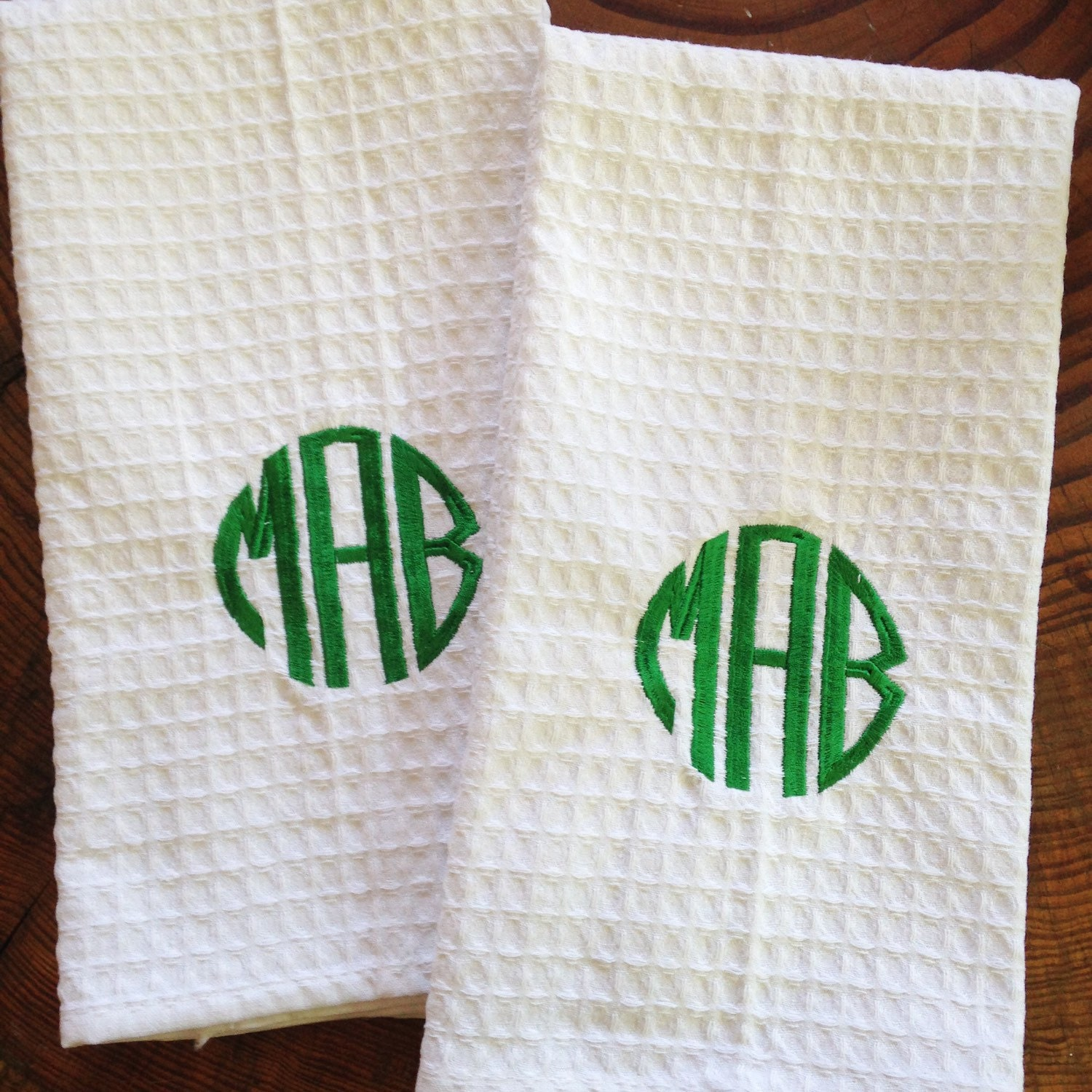 Monogram Towels For Bathroom: Monogram Waffle Weave Kitchen Towel / Monogram Bath Towel