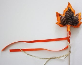 Fall Leaf Magic Wand - Orange & Brown