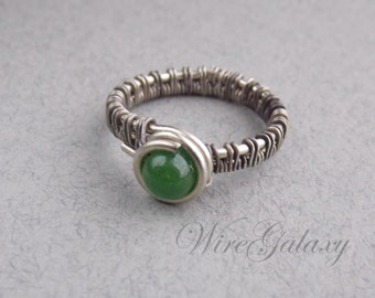 Ring Chrysoprase Wire wrapped Jewelry Gift for her Wire ring Romantic gift Gemstone jewelry OOAK ring Boho ring