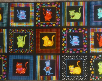 Cool Cats~By the Panel~Cotton Fabric, Quilt, Home Decor~Loralie Designs~Fast Shipping,N225