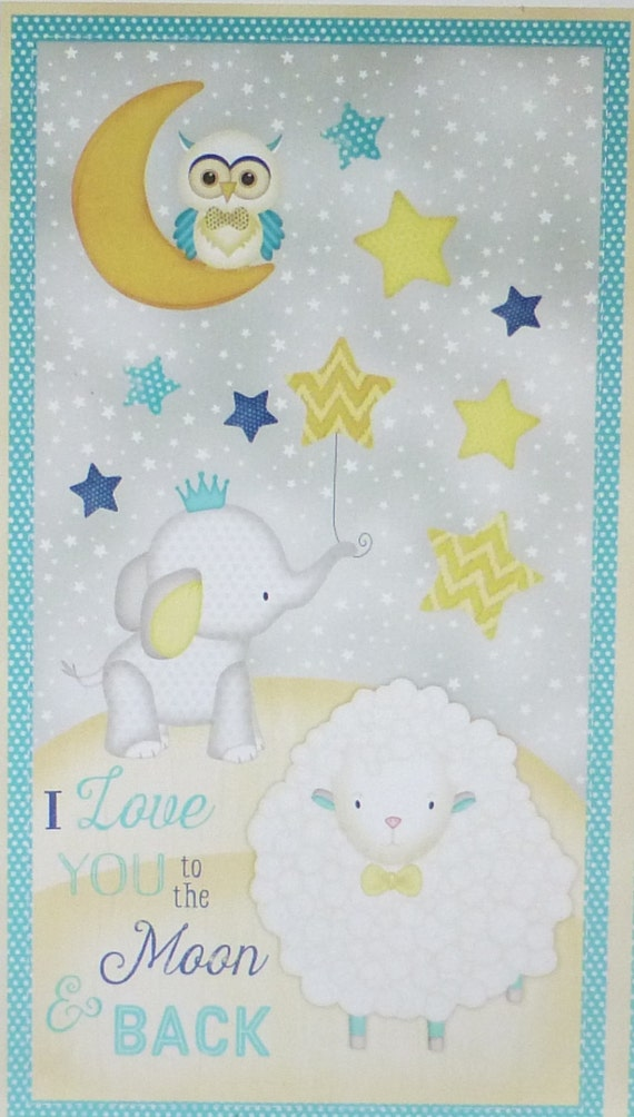 To the moon and backpanelcotton fabric by suesfabricnsupplies for Moon print fabric