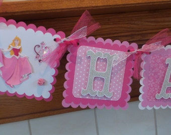 Sleeping Beauty Banner, Aurora banner, Aurora Birthday Banner, Princess Banner, Aurora Photo Banner, Matching Tissue Poms Are Available
